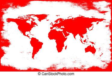 white-red grunge map