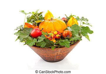 flower arrangement for halloween over white background