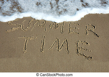 Summer time - SUMMER TIME written on sandy beach