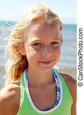 portrait of young girl on the beach