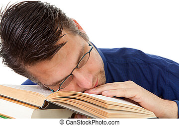 nerdy geek fall asleep on books - male nerdy geek fall...