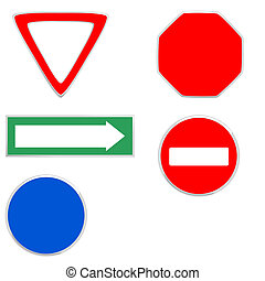 Traffic signs - Blank traffic signs on a white background