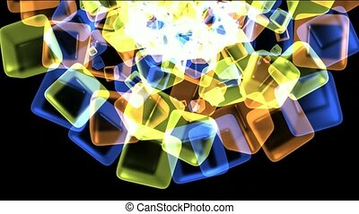 color glass cubes shaped flower pattern and ice...