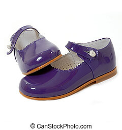 little girl violet shoes isolated - violet pair of shoes...