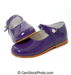 poco, niña, violeta, zapatos, aislado