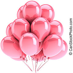 Pink balloons romantic decoration - Party balloons colored...