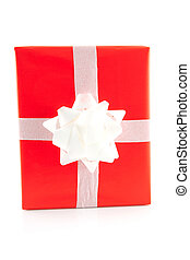 red present with white bow - isolated red present with white...