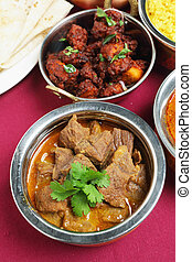 Indian curries high angle view - A bowl of beef korma curry...