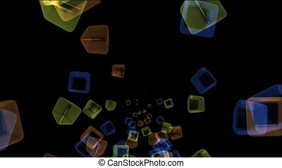 ice block,flying glass boxes and rays light,tech web cubes...
