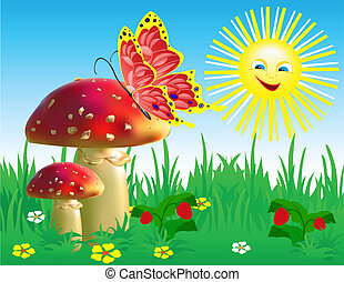 Summer landscape with mushrooms and a butterfly.