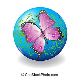 Ball with the image of a butterfly.