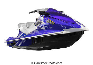 blue jet ski front view isolated