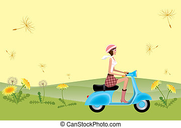 Scooter Girl on Dandelion Seeds - Illustration vector
