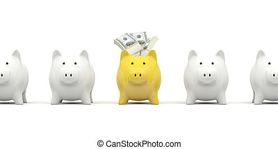 Piggy bank with money isolated on