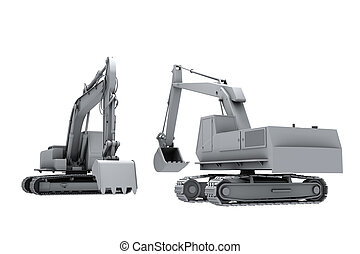 Grey model of the diggers - Model of the diggers isolated on...