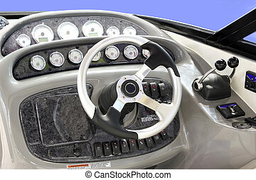 yacht dashboard - yacht cabin with dashboard and steering...