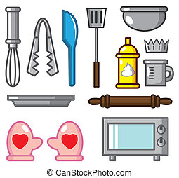 cartoon baking tool icon  - cartoon baking tool icon