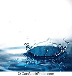 fresco, agua, con, burbujas