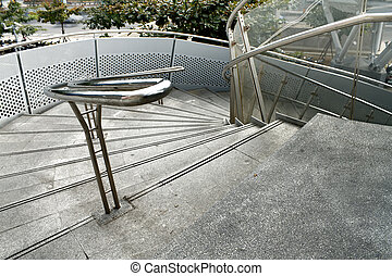Modern stair in outdoor, scenery of building exterior.