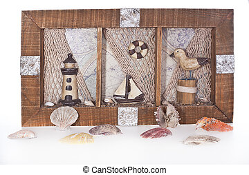 still with shells, lighthouse, boat and sea gull
