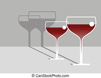 Red Wine. Vector illustration of two bokal wine