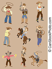 cartoon wild west cowboy icon