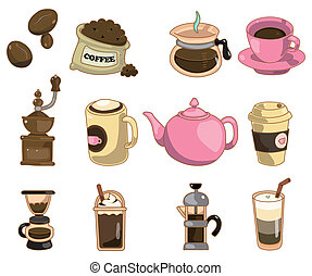 cartoon coffee icon  - cartoon coffee icon