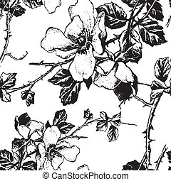 seamless pattern (vector) - seamless floral monochrome...
