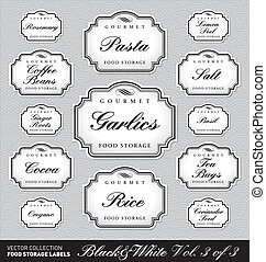 food storage labels vol3 vector - set 1 of 3 of ornate...