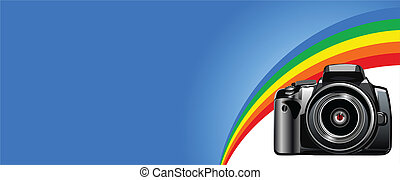Camera - The photo camera digital, face Vector image