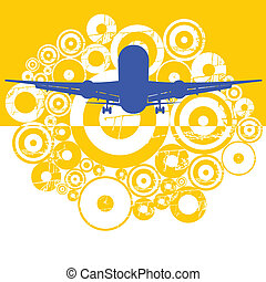 The plane - Vector color illustration of flying plane in sky...