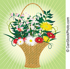 basket flowers - on an abstract yellow-green background...