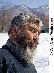 viejo, Mongoloid, hombre, 13