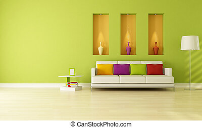 green living room - minimalist green living room with three...