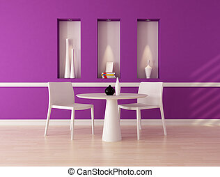 purple dining room - minimalist purple dining room with...
