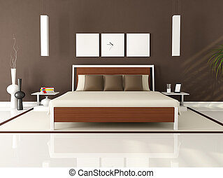 Brown modern bedroom - contemporary elegant brown bedroom -...