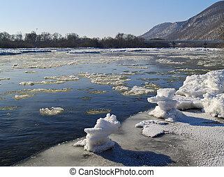 Taiga, pequeño, río, principio, invierno