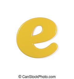 yellow font - letter e - Yellow letter e, isolated on white...