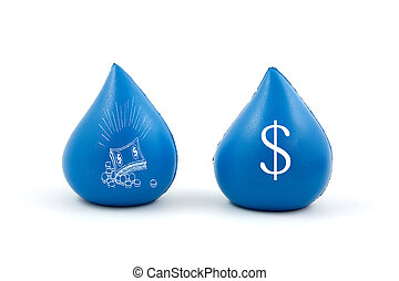 waterdrops with dollar and money - blue waterdrops with...