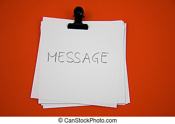 Notice paper with message, white on red