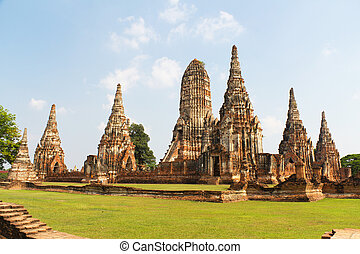 Temple Ruins of Wat Chai Wattanaram at the Unesco World...