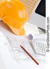 construção, gerente, escritório