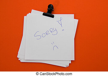 Memo Sorry - Notice paper with message: Sorry, white on red