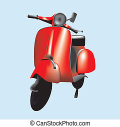 Vector image of a retro scooter - Vector illustration of a...
