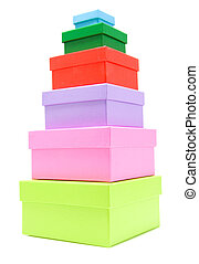 colored boxes - stacked colorful boxes isolated on white...