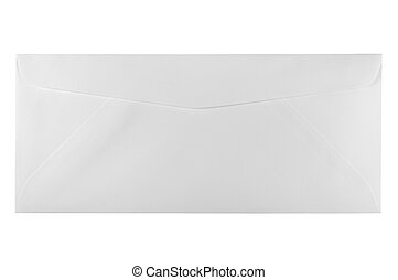 Back of an unused white letter size envelope isolated - Back...
