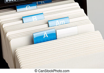 Rotary Card File - A to Z vintage Rotary Card File close up.