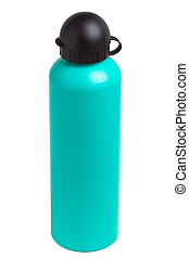Water Bottle - Green metal camping water bottle isolated on...