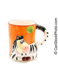 Animal mug - one cute animal mug isolated on white...