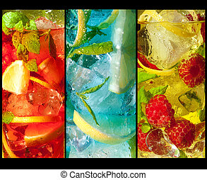 Trio of cocktails - Three extreme macro shots of colorful...
